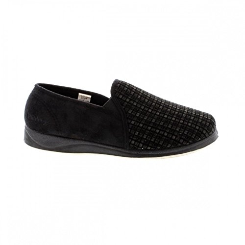 Albert - Zapatillas de estar por casa para hombre Black Check Wool Mix/Suede