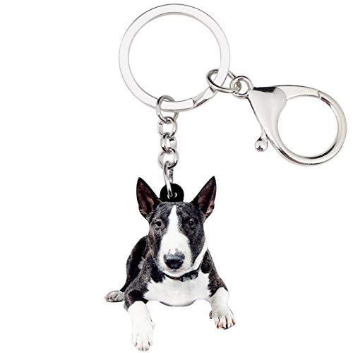 WEVENI Acrylic American Pit Bull Terrier Dog Key Chains Keychain Rings Animal Jewelry For Women Girls Handbag Charms Gifts (Multicoloured)