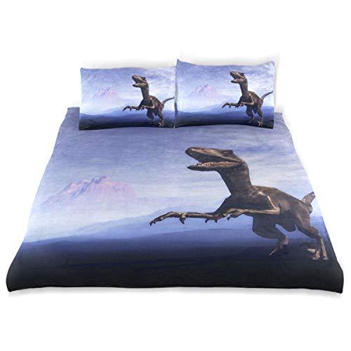 FAJRO Parure de lit Super Douce avec Housse de Couette et 2 taies d'oreiller de Taille Standard pour étudiants Motif Dinosaure