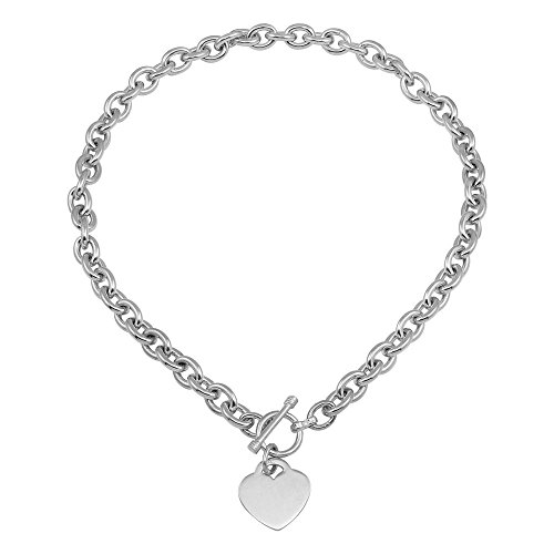Toggle Heart Large (CloseoutWarehouse Sterling Silver High Polished Toggle Heart Link Necklace Size Large)