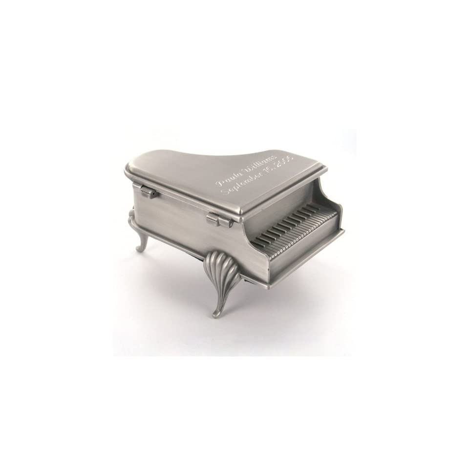 Antique Pewter Brushed Piano Jewelry Box