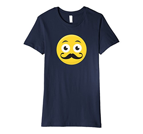 Womens Smiley With Handlebar Mustache Emoticon Premium T-Shirt Small (Handlebar Mustache With Beard)