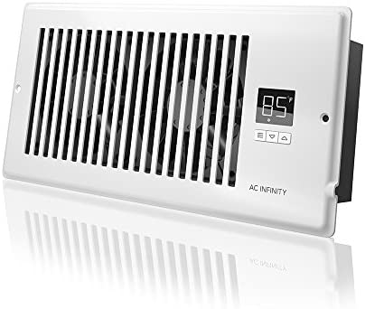 AC Infinity AIRTAP T4, Quiet Register Booster Fan with Thermostat Control. Heating Cooling AC Vent. Fits 4 x 10 Register Holes.