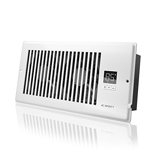 "Vent Blower - AC Infinity AIRTAP T4, Quiet Register Booster Fan with Thermostat Control. Heating Cooling AC Vent. Fits 4"" x 10"" Register Holes."