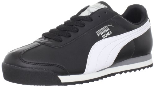 PUMA Men's Roma Basic Fashion Sneaker, Black/White/Silver - 10.5 D(M) US