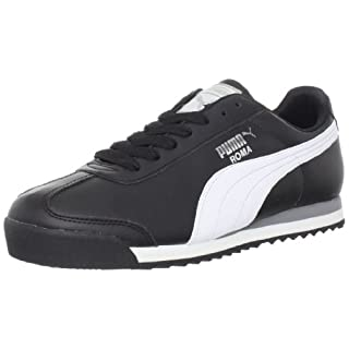 PUMA Men's Roma Basic Fashion Sneaker, Black/White/Silver - 9 D(M) US