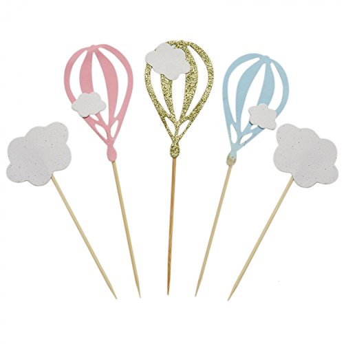 IDS 20 PCS White Cloud Cupcake Picks Hot Air Balloon Cupcake Toppers Baby Shower Party -