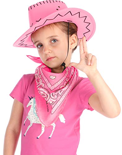 Cowboy Hat for Kids - Felt Cowboy Hats w/Paisley Bandana by Funny Party Hats Western Costume Accessories ()