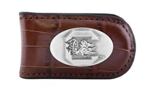NCAA South Carolina Fighting Gamecocks Tan Crocodile Leather Magnet Concho Money Clip, One Size Carolina Leather Money Clip