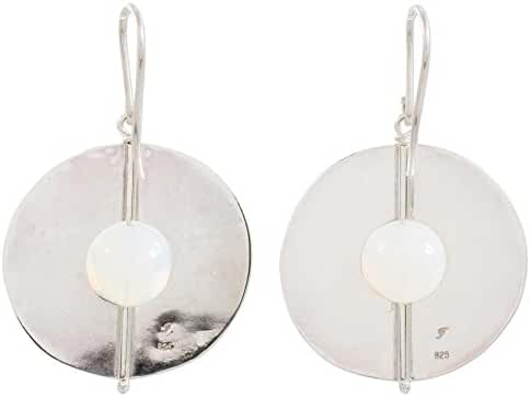 NOVICA Opal .925 Sterling Silver Dangle Earrings 'Full Moons'