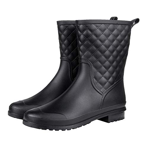 Litfun Womens Black Mid Calf Rain Boots Outdoor Work Waterproof Garden Booties Wide Calf Rain Shoes ()