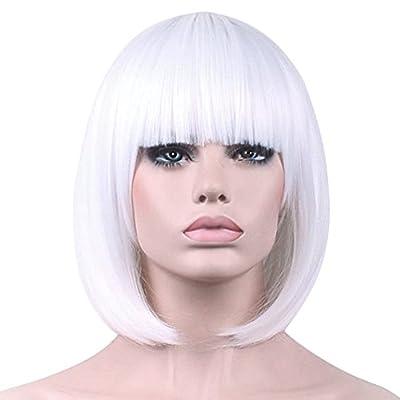 Short Bob Hair Wigs with Bangs Straight Synthetic Wig Natural As Real Hair 12''