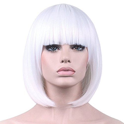 Short Bob Wigs White Wig for Women with Bangs Straight Synthetic Wig Natural As Real Hair 12''with Wig Cap BU027WH -