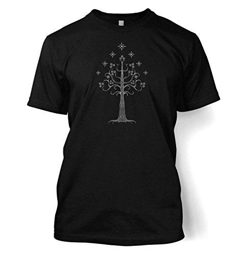 Weiß Tree of Gondor T-Shirt (Medium (38/40)/Schwarz)