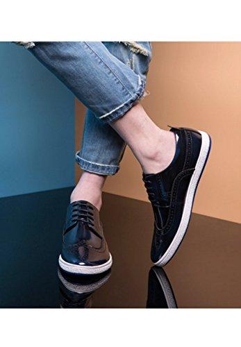 GRRONG Le Printemps Et L'automne Hommes Bullock Chaussures Style Britannique Chaussures De Plaque D'onde blue UibUOm
