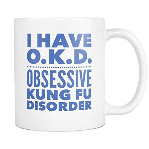ArtsyMod OKD OBSESSIVE KUNG FU DISORDER Typography Premium Coffee Mug, PERFECT FUN GIFT for the Kung Fu, Chinese Boxing Lover! Attractive Durable White Ceramic Mug (11oz., Blue Print)