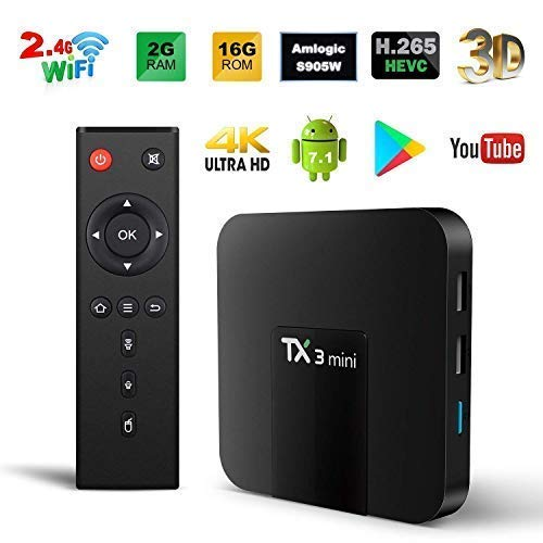 Android TV Box, TX3 Mini Android 7.1.2 TV Box Quad Core 64 Bits Support WiFi 100M LAN Smart TV Box 4K 3D HDR IPTV Media Player ()