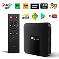 Android TV Box,TX3 Mini Android 7.1.2 TV Box Quad Core 64 Bits Support WiFi 100M LAN Smart TV Box 4K 3D HDR IPTV Media Player