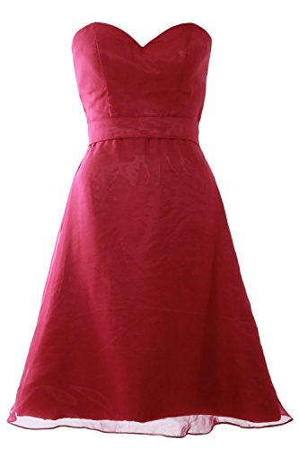 MACloth Women Sweetheart Short Bridesmaid Dress Wedding Party Gown with Sash Wine Red