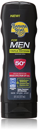 Banana Boat Sunscreen for Men Triple Defense Broad Spectrum Sun Care Sunscreen Lotion - SPF 50, 6 Ounce