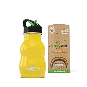 Kids Stainless Steel Water Bottle - Sippy Cup Leak Proof Sports Cap with Straw - Toddler Child Friendly Flask By Greens Steel (Yellow)