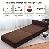 Giantex Fold Down Sofa Bed Floor Couch Foam Folding Modern Futon Chaise Lounge Convertible Upholstered Memory Foam Padded Cushion Guest Sleeper Chair