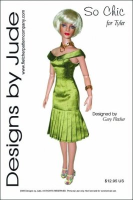 """So Chic Printed Sewing Pattern for 16"""" Tyler Wentworth Doll"""