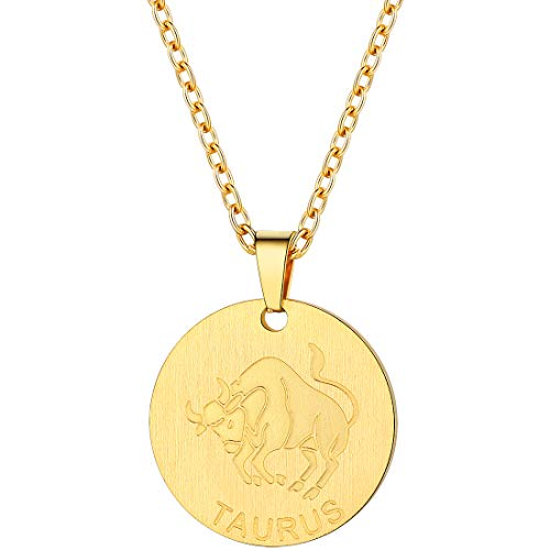 (PROSTEEL Gold Taurus Zodiac Star Sign Coin Necklace 18K Plated Layered Layering Necklace Constellation Horoscope Pendant Women Jewelry Gift )