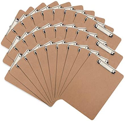 30 Hardboard Clipboards, Low Profile Clip, Designed for Classroom and Office Use, 30 Clip Boards
