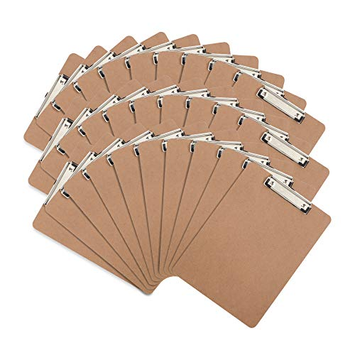 30 Hardboard Clipboards, Low Profile Clip, Designed for Classroom and Office Use, 30 Clip Boards -
