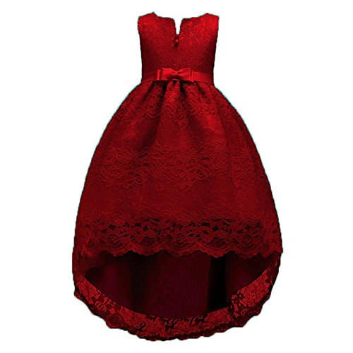 FKKFYY 2-14 Years Girl Wedding Party Graduation Long Tail Tutu Dresses (Wine, 10-14Years 160)