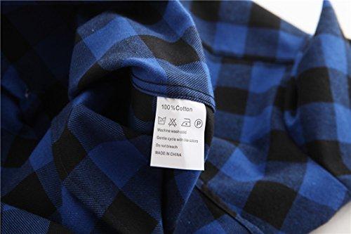 Manches Chemise Blouse Chemisier Noir Coton en Longues Bouton Dioufond Carreaux avec Femme Bleu 1T6fBxn