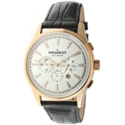 Peugeot Men's MK910RBK Rose Gold-Tone Stainless Steel Watch with Textured Black Band