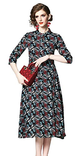 Shineflow Women's Vintage Floral Printed Lotus Sleeves Elastic Waist Pleated Swing Cocktail Party Midi Dress (Black & Red, S)