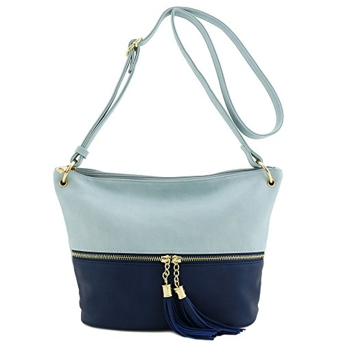 Patent Leather Logo Handbag (Tassel Accent Bucket Crossbody Bag Light Blue/Dark Blue)