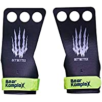 Bear KompleX Black Diamond 3 Hole Hand Grips, Great for All Bars, Speal, Barbell, Kettle Bell, Ring Work, Gymnastics, Crossfit, Comfort and Support, Protect from Blisters, Reduce Slipping, Men & Women