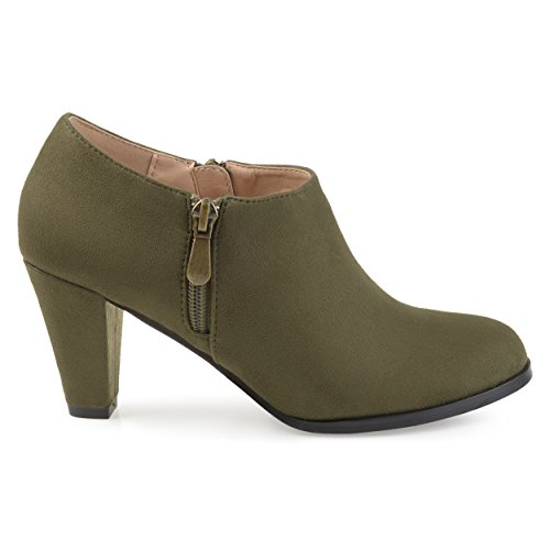 Womens Sadra Faux Suede Low-Cut Comfort-Sole Ankle Booties Olive 10 Regular US