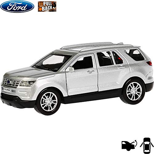1:36 Scale Diecast Metal Model Car Ford Explorer Silver Mid-Size SUV Russian Die-cast Toy Cars