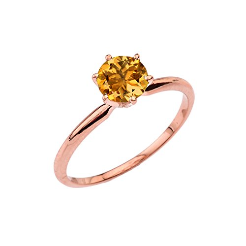 Dainty 14k Rose Gold Personalized Genuine Citrine Solitaire Engagement/Proposal Ring (Size 7.25)