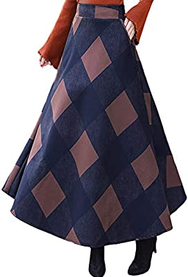 Youhan Women's High Waist Plaid A-Line Flared Winter Long Skirt