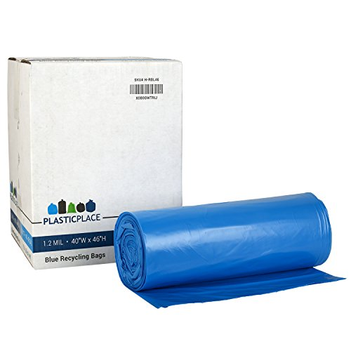 Plasticplace Recycling Bags,1.2 Mil, 40-45 gal, Blue, 100 per Case