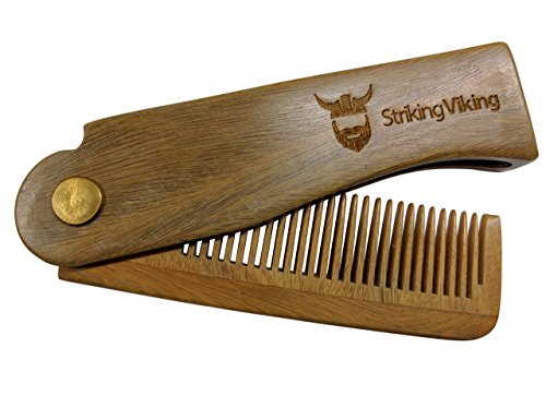 [Folding Wood Comb by Striking Viking - Anti-Static Wooden Styling Comb for Men] (Halloween Costume Men Long Hair)