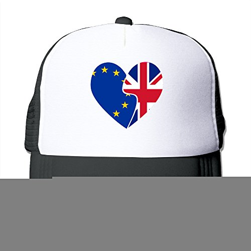 CCbros Heart Flag EU UK Britain Exit European Union Leisure Mesh Back Hats Caps One Size Fit All Black - Exit Flag
