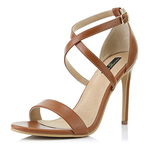 DailyShoes Women's Open Toe Ankle Buckle Cross Strap Platform Pump Evening Dress Party High Heel Jennifer-22 Sandals, Tan PU, 6.5 B(M) US