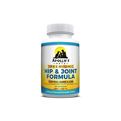 Apollo's Pets Hip and Joint Formula with Turmeric. Combination of Glucosamine, Chondroitin, MSM, Hyaluronic Acid Plus Organic Turmeric for Dogs or Cats. 60 Bacon Flavored Chewables. Made in The USA (Rimadyl 100 Mg Best Price)