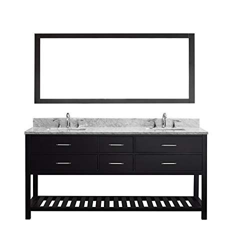 Virtu USA Caroline Estate 72 inch Double Sink Bathroom Vanity Set in - One Two Small Double Bathroom Sink Or Mirrors