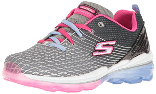 Skechers Kids Girls' Skech-Air Deluxe Sneaker,Charcoal/Multi, 3 M US Little Kid