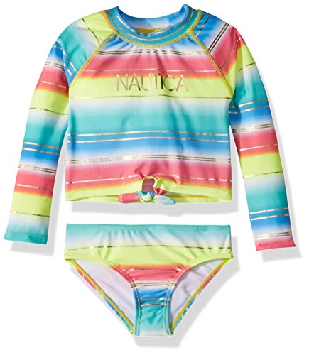 Nautica Toddler Girls' Rashguard Swim Suit Set, Ombre Lemon, 2T