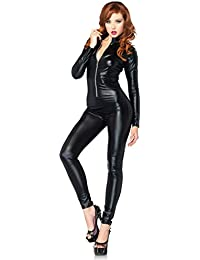 94938a8478dd Women's Wet Look Zipper Front Cat Suit