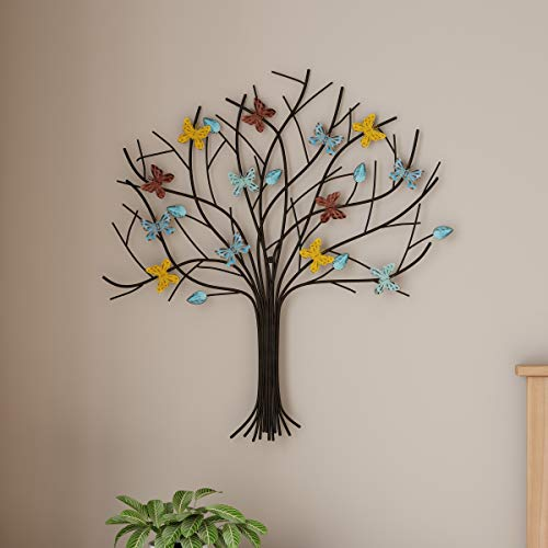 Lavish Home Tree of Life Metal Wall Art Hand Painted 3D Butterflies/Leaves for Modern Farmhouse Rustic Home or Office Decor